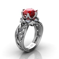 Classic 950 Platinum 3.0 Ct Ruby Diamond Collar Double Knot Solitaire Ring R450-PLATDR