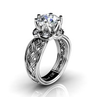 Classic 950 Platinum 3.0 Ct White Sapphire Diamond Collar Double Knot Solitaire Ring R451-PLATDWS