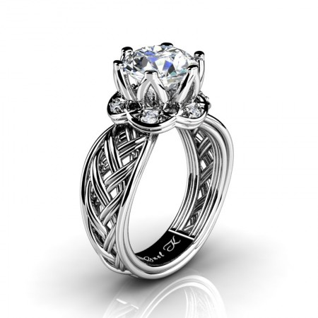 Classic-950-Platinum-3-Ct-White-Sapphire-Diamond-Collar-Double-Knot-Solitaire-Ring-R451-PLATDWS-P