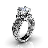 Classic 950 Platinum 3.0 Ct White Sapphire Diamond Collar Double Knot Solitaire Ring R450-PLATDWS