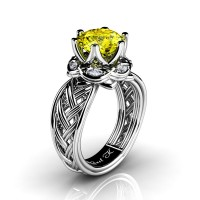 Classic 950 Platinum 3.0 Ct Yellow Sapphire Diamond Collar Double Knot Solitaire Ring R450-PLATDYS