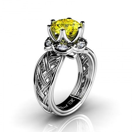 Classic-950-Platinum-3-Ct-Yellow-Sapphire-Diamond-Collar-Double-Knot-Solitaire-Ring-R450-PLATDYS-P