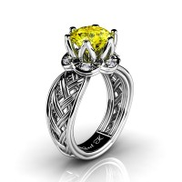 Classic 950 Platinum 3.0 Ct Yellow Sapphire Diamond Collar Double Knot Solitaire Ring R451-PLATDYS