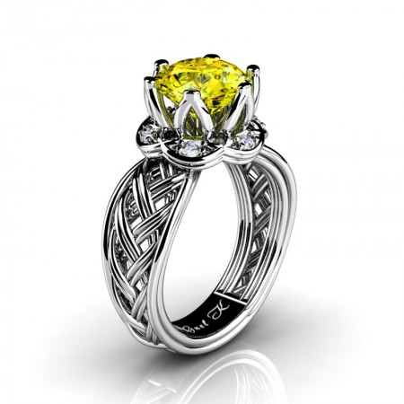Classic-950-Platinum-3-Ct-Yellow-Sapphire-Diamond-Collar-Double-Knot-Solitaire-Ring-R451-PLATDYS-P