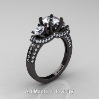 French 14K Black Gold Three Stone White Sapphire Diamond Wedding Ring Engagement Ring R182-14KBGDWS