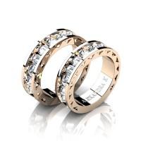 Modern 14K Rose Gold Inverted White Sapphire Sun Cluster Wedding Ring Set A1004S-14KRGWS