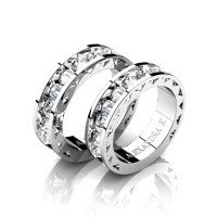 Modern 14K White Gold Inverted White Sapphire Sun Cluster Wedding Ring Set A1004S-14KWGWS