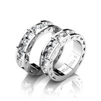 Modern 14K White Gold Inverted White Sapphire Sun Cluster Wedding Ring Set A1004S-14KWGWS