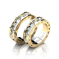 Modern 14K Yellow Gold Inverted White Sapphire Sun Cluster Wedding Ring Set A1004S-14KYGWS