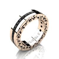 Modern Art Nouveau 14K Rose Gold Channel Princess Black Diamond Wedding Ring A1005-14KRGBD