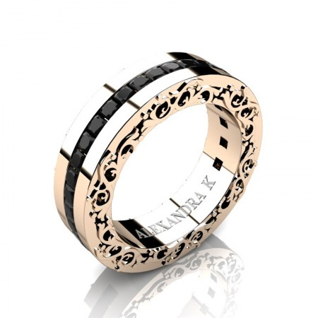 Modern-Art-Nouveau-14K-Rose-Gold-Channel-Princess-Black-Diamond-Wedding-Ring-A1005P-14KRGBD-P