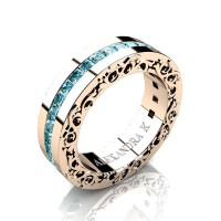 Modern Art Nouveau 14K Rose Gold Channel Princess Blue Diamond Wedding Ring A1005-14KRGBLD