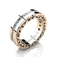 Modern Art Nouveau 14K Rose Gold Channel Princess Diamond Wedding Ring A1005-14KRGD