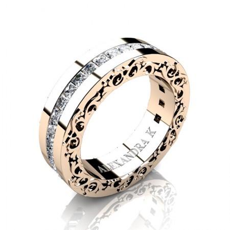 Modern-Art-Nouveau-14K-Rose-Gold-Channel-Princess-Diamond-Wedding-Ring-A1005P-14KRGD-P