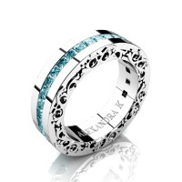 Modern Art Nouveau 14K White Gold Channel Princess Blue Diamond Wedding Ring A1005-14KWGBLD