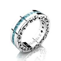 Modern Art Nouveau 14K White Gold Channel Princess Blue Diamond Wedding Ring A1005-14KWGBLD