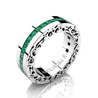 Modern Art Nouveau 14K White Gold Channel Princess Emeralds Wedding Ring A1005-14KWGEM