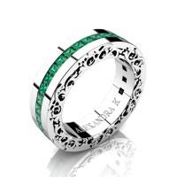 Modern Art Nouveau 14K White Gold Channel Princess Emeralds Wedding Ring A1005-14KWGEM