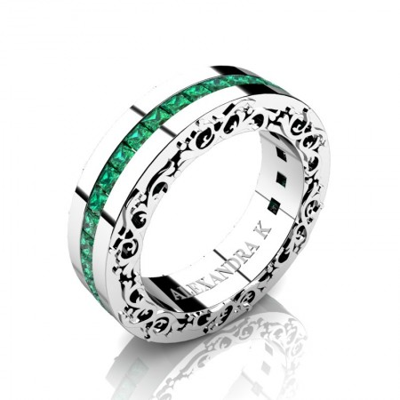 Modern-Art-Nouveau-14K-White-Gold-Channel-Princess-Emerald-Wedding-Ring-A1005P-14KWGEM-P