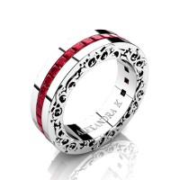 Modern Art Nouveau 14K White Gold Channel Princess Ruby Wedding Ring A1005-14KWGR