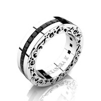 Modern Art Nouveau 14K White Gold Channel Princess Black Diamond Wedding Ring A1005-14KWGBD