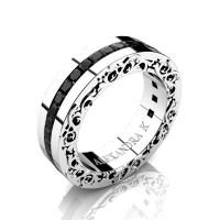 Modern Art Nouveau 14K White Gold Channel Princess Black Diamond Wedding Ring A1005-14KWGBD