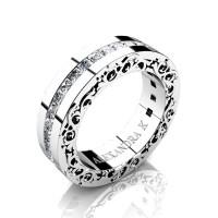 Modern Art Nouveau 14K White Gold Channel Princess Diamond Wedding Ring A1005-14KWGD