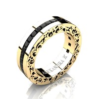 Modern Art Nouveau 14K Yellow Gold Channel Princess Black Diamond Wedding Ring A1005-14KYGBD