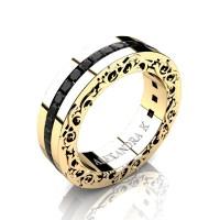 Modern Art Nouveau 14K Yellow Gold Channel Princess Black Diamond Wedding Ring A1005-14KYGBD