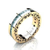 Modern Art Nouveau 14K Yellow Gold Channel Princess Blue Diamond Wedding Ring A1005-14KYGBLD