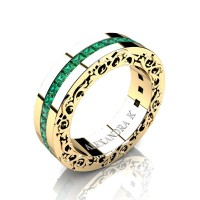 Modern Art Nouveau 14K Yellow Gold Channel Princess Emeralds Wedding Ring A1005-14KYGEM