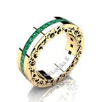Modern Art Nouveau 14K Yellow Gold Channel Princess Emeralds Wedding Ring A1005-14KYGEM