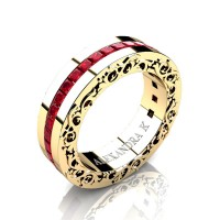 Modern Art Nouveau 14K Yellow Gold Channel Princess Ruby Wedding Ring A1005-14KYGR