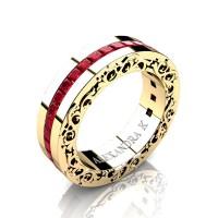 Modern Art Nouveau 14K Yellow Gold Channel Princess Ruby Wedding Ring A1005-14KYGR
