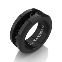 Mens Modern 14K Black Gold Inverted Princess Black Diamond Channel Cluster Wedding Ring A1000-14KBGBD