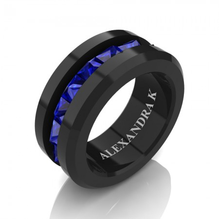 Modern-Black-Gold-Princess-Blue-Sapphire-Ring-A1001-BGBS-P3