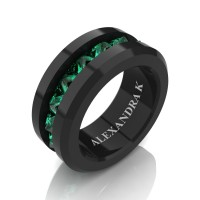 Mens Modern 14K Black Gold Inverted Princess Emerald Channel Cluster Wedding Ring A1000-14KBGEM