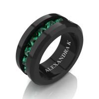 Mens Modern 14K Black Gold Inverted Princess Emerald Channel Cluster Wedding Ring A1000-14KBGEM