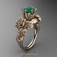 Nature Inspired 14K Rose Gold 1.0 Ct Emerald Rose Bouquet Leaf and Vine Engagement Ring R427-14KRGEM