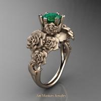 Nature Inspired 14K Rose Gold 1.0 Ct Emerald Rose Bouquet Leaf and Vine Engagement Ring R427-14KRGEM