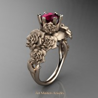 Nature Inspired 14K Rose Gold 1.0 Ct Garnet Rose Bouquet Leaf and Vine Engagement Ring R427-14KRGSG
