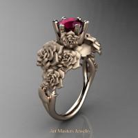 Nature Inspired 14K Rose Gold 1.0 Ct Garnet Rose Bouquet Leaf and Vine Engagement Ring R427-14KRGSG