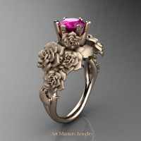 Nature Inspired 14K Rose Gold 1.0 Ct Pink Sapphire Rose Bouquet Leaf and Vine Engagement Ring R427-14KRGSPS