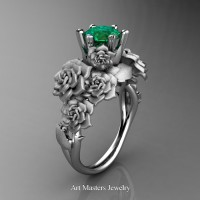 Nature Inspired 14K White Gold 1.0 Ct Emerald Rose Bouquet Leaf and Vine Engagement Ring R427-14KWGEM