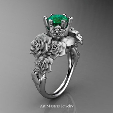 Nature-Inspired-14K-White-Gold-1-0-Ct-Emerald-Rose-Bouquet-Leaf-and-Vine-Engagement-Ring-R427-14KWGSEM-P