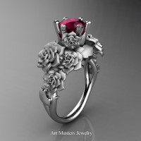 Nature Inspired 14K White Gold 1.0 Ct Garnet Rose Bouquet Leaf and Vine Engagement Ring R427-14KWGSG
