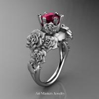 Nature Inspired 14K White Gold 1.0 Ct Garnet Rose Bouquet Leaf and Vine Engagement Ring R427-14KWGSG