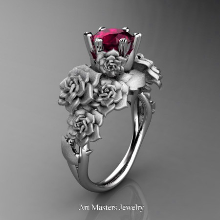 Nature-Inspired-14K-White-Gold-1-0-Ct-Garnet-Rose-Bouquet-Leaf-and-Vine-Engagement-Ring-R427-14KWGSG-P