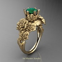 Nature Inspired 14K Yellow Gold 1.0 Ct Emerald Rose Bouquet Leaf and Vine Engagement Ring R427-14KYGEM
