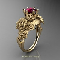 Nature Inspired 14K Yellow Gold 1.0 Ct Garnet Rose Bouquet Leaf and Vine Engagement Ring R427-14KYGSG